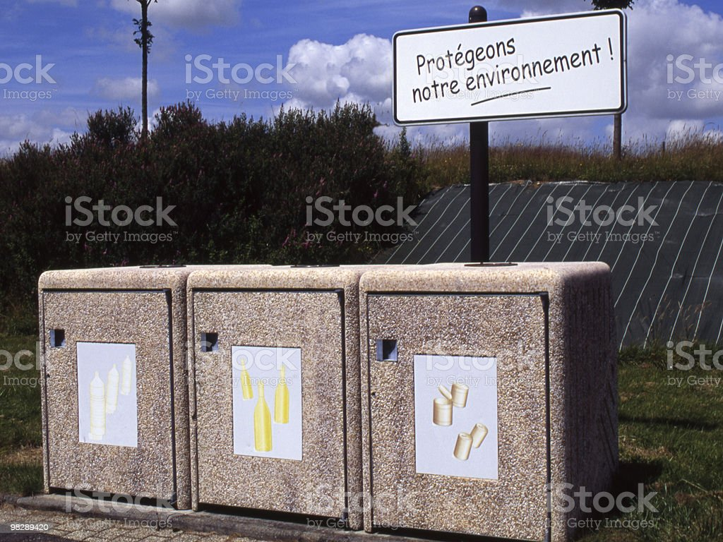 Recycling Bins at Motorway Service Station. France royalty-free stock photo