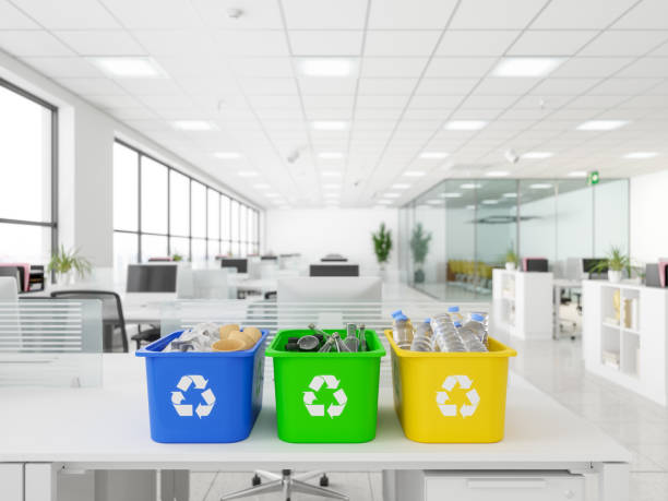 Recycling Bins on desk in the office Recycling Bins on desk in the office bottle bank stock pictures, royalty-free photos & images