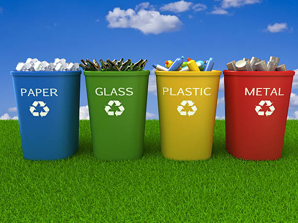 recycling bins - recycling symbol stock photos and pictures