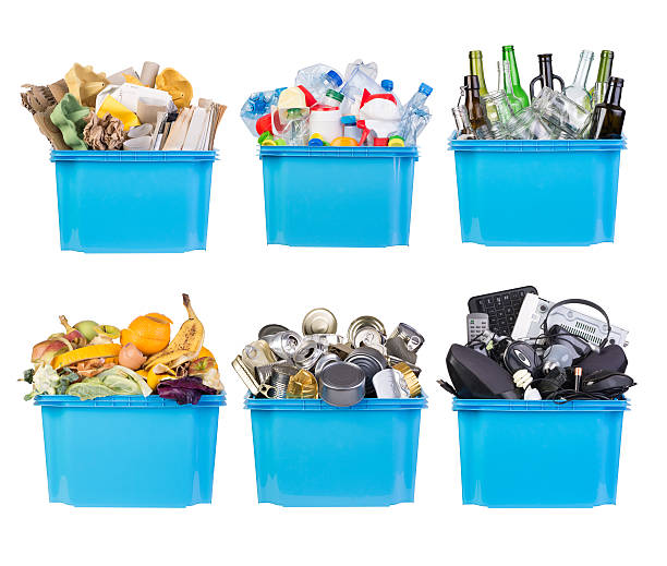 Recycling bins Recycling bins with paper, plastic, glass, metal, organic and electronic waste isolated on white background fruit carton stock pictures, royalty-free photos & images