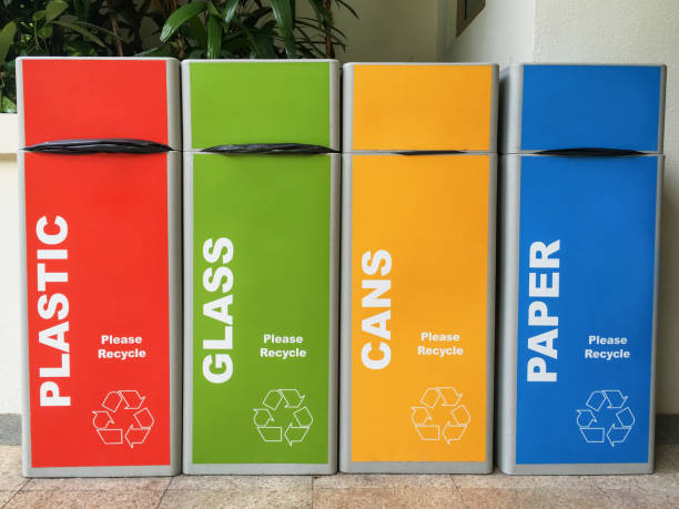 Recycling bins Recycling bins bottle bank stock pictures, royalty-free photos & images
