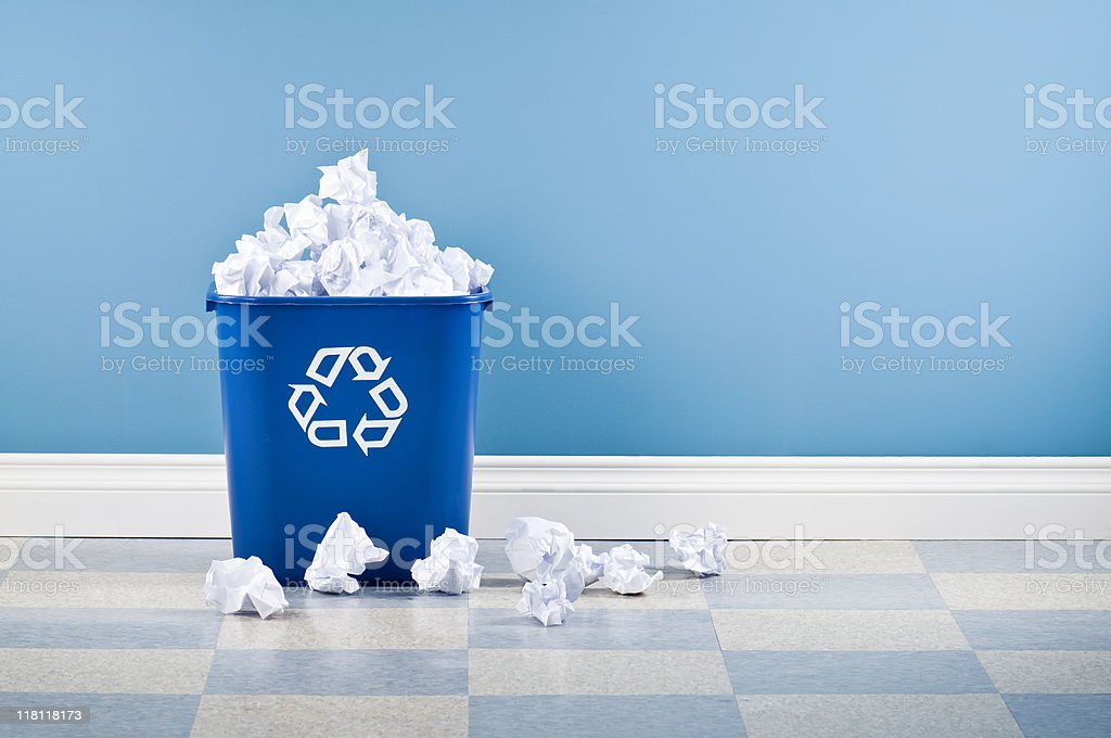 Recycling Container Full Of Paper stock photo