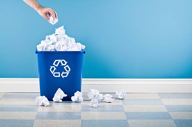 recycling container with crumpled paper - recycling bin stock photos and pictures