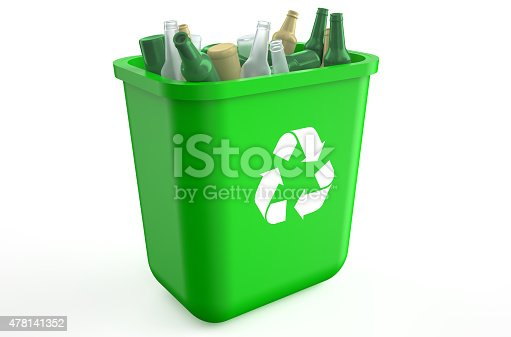 istock recycling container with glass bottles 478141352