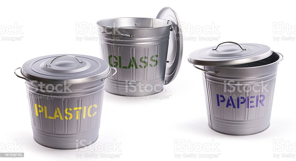 recycling garbage cans stock photo