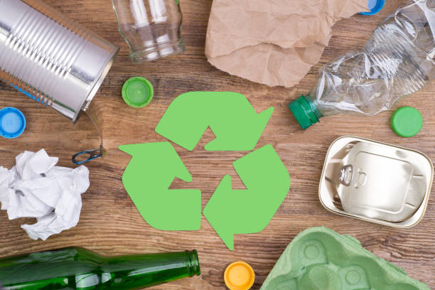 Recycling garbage such as glass, plastic, metal and paper stock photo