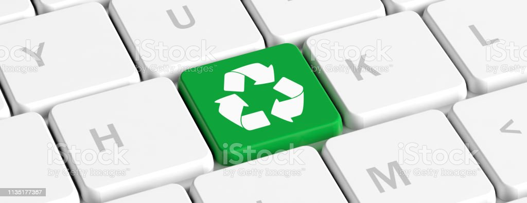 Recycling Green Key Button With Recycle Sign On A Computer Keyboard Banner 3d Illustration Stock Photo Download Image Now Istock