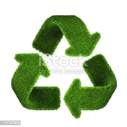 Digitally generated image of Recycling symbol made of Grass. Isolated on white.