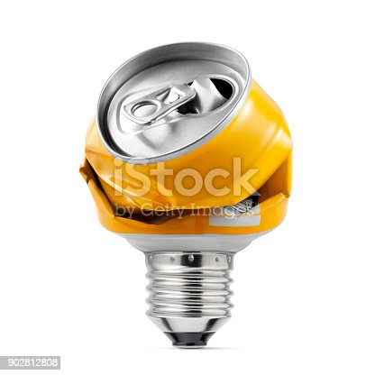 Recycling Idea. Light bulb made with crushed can on white background.