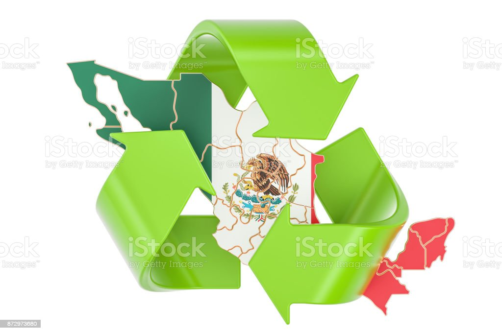 Recycling in Mexico concept, 3D rendering isolated on white background stock photo