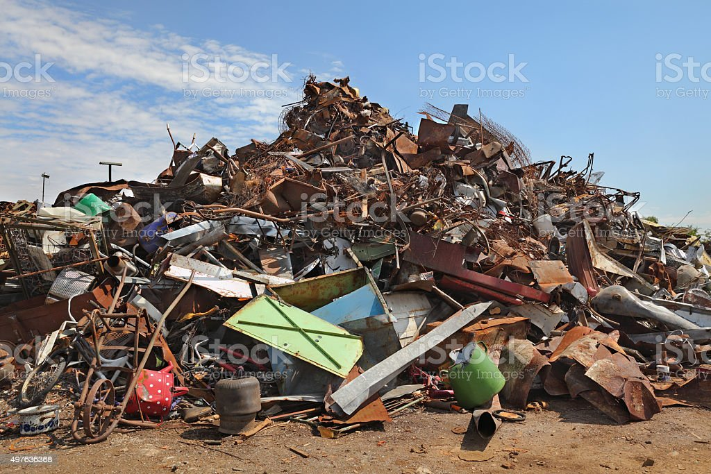 Recycling industry, heap of old metal stock photo