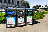 istock Recycling, landfill and compost garbage bins on UC Berkeley campus; 1162983611