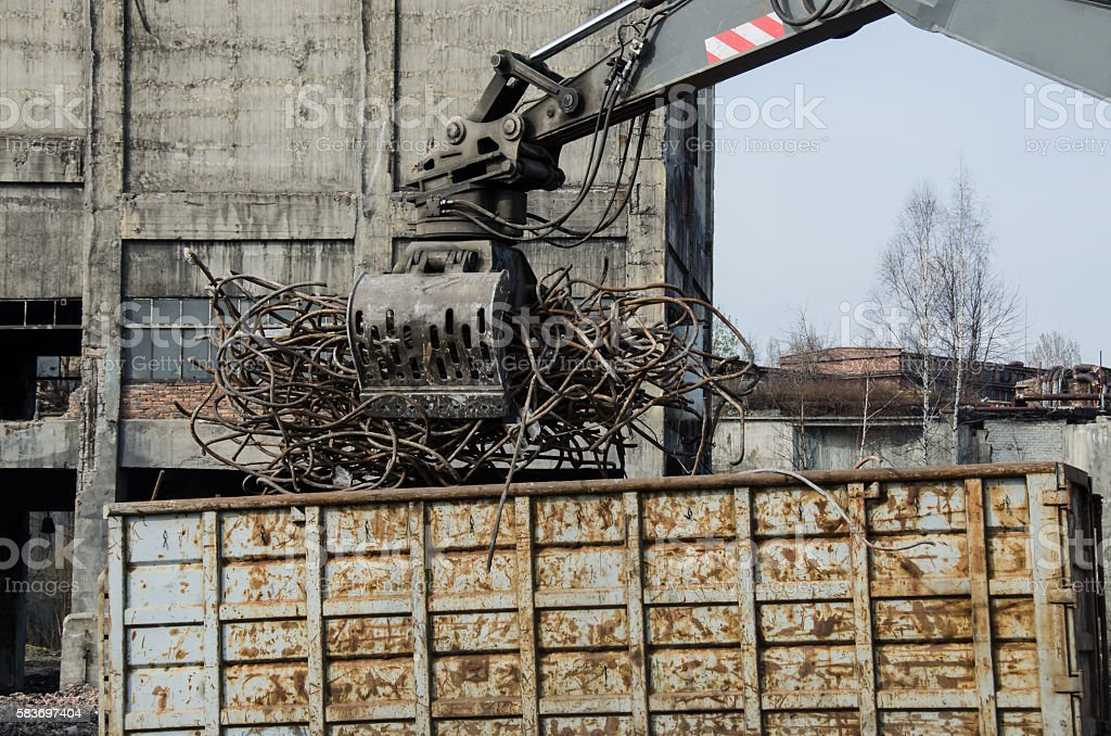 Recycling of scrap metal stock photo
