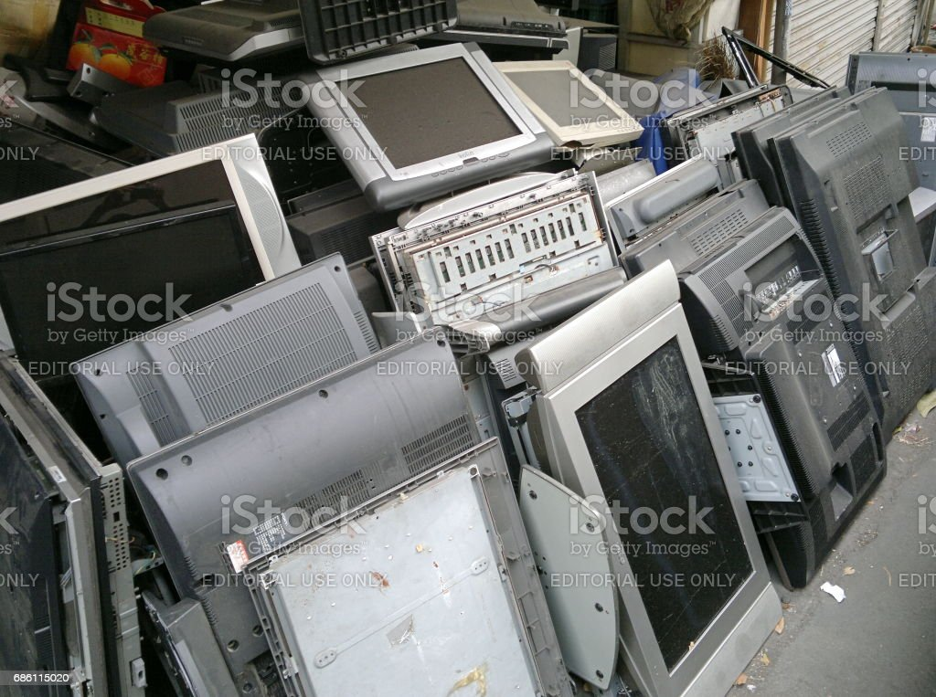 Recycling Old Flat Panel Televisions stock photo