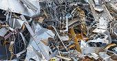 Recycling: Pile of silver metal sheet scrap at junkyard
