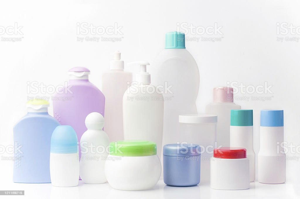 recycling plastic containers stock photo