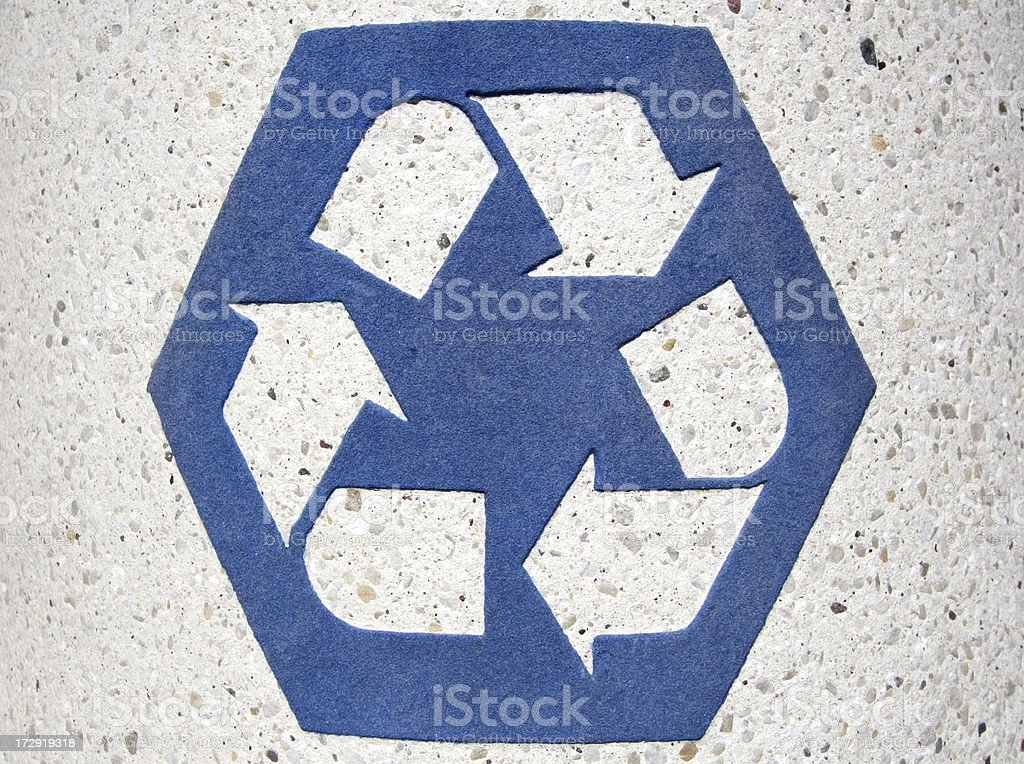 Blue recycling symbol.