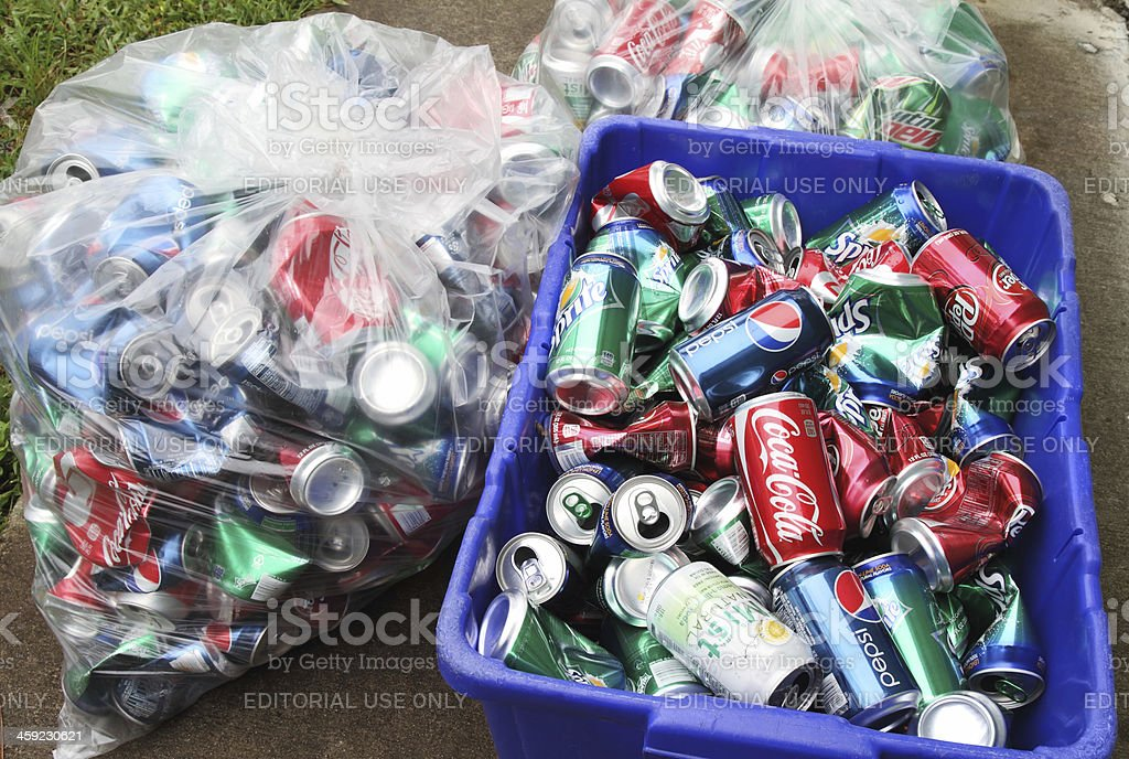 Recycling soda cans stock photo
