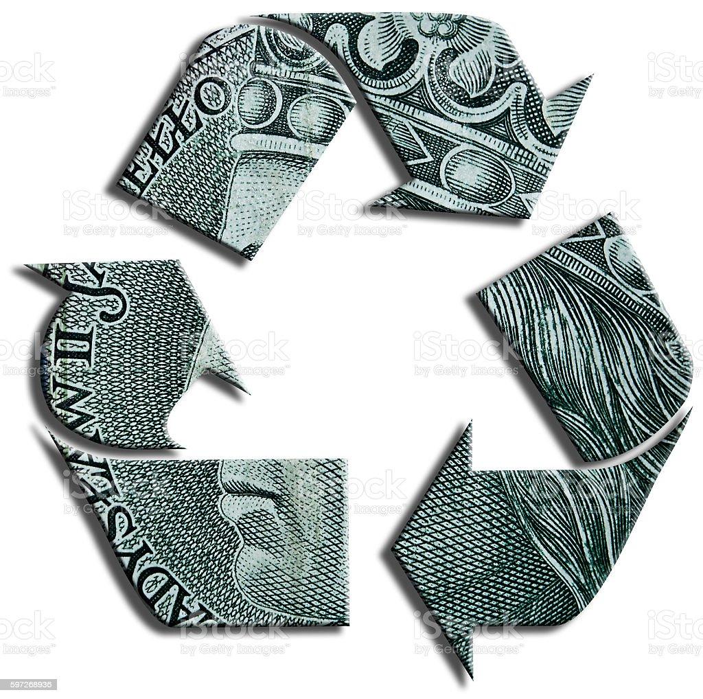Recycling symbol. 100 Polish Zloty texture. royalty-free stock photo