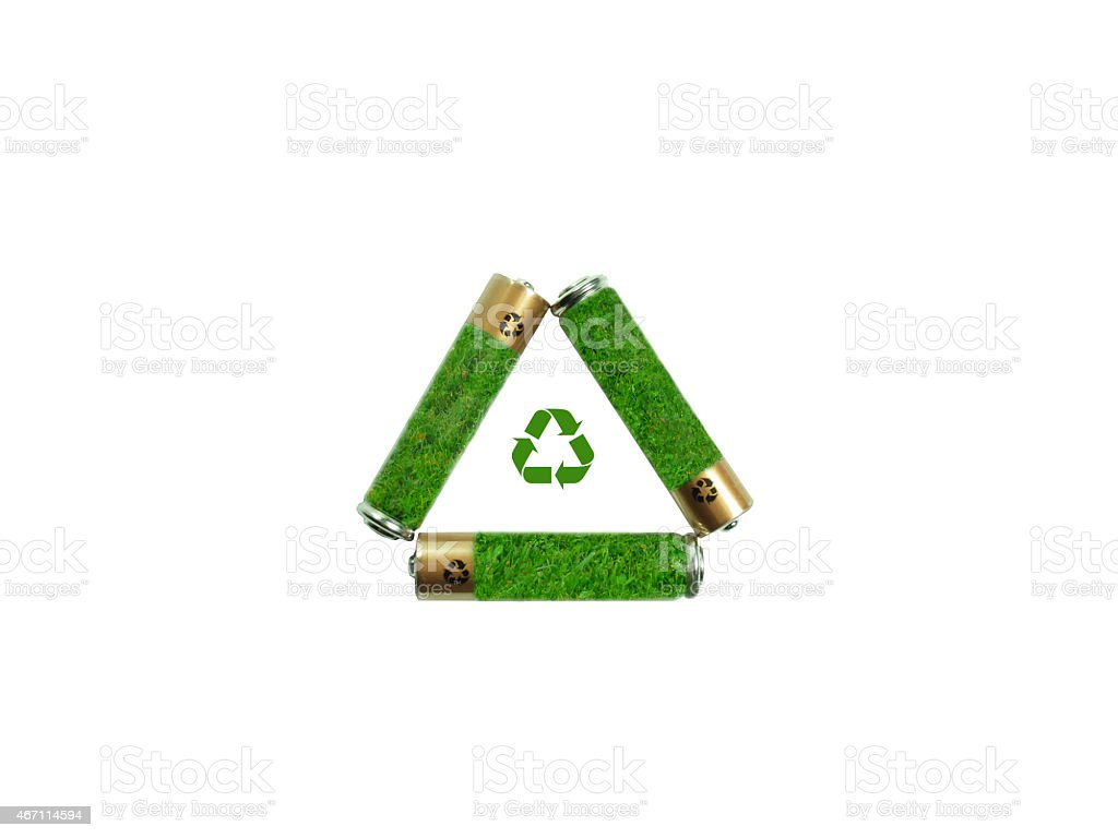 Recycling Symbol Created With Aaa Batteries Stock Photo More