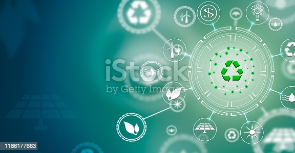 istock Recycling symbol for clean energy. The power of green energy. Concept of renewable energie 1186177663