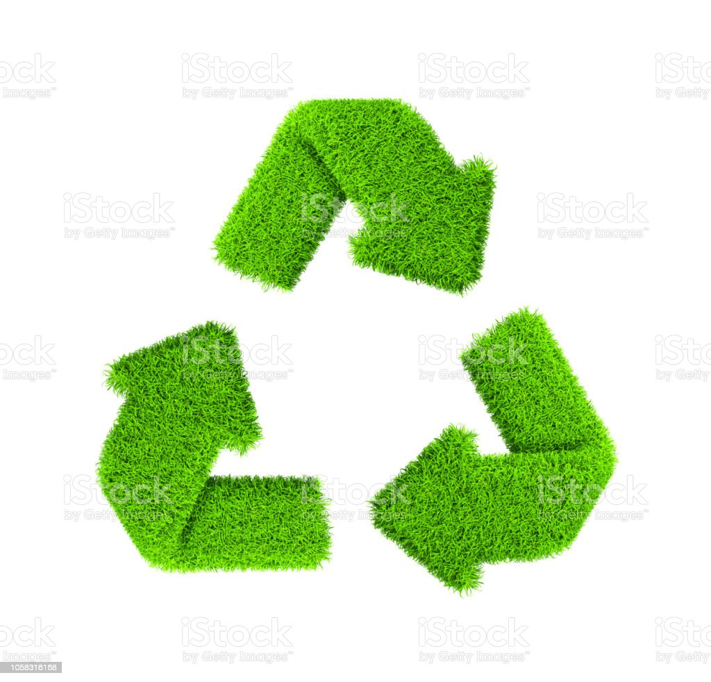 Recycling Symbol , Grass , Isolated on white stock photo