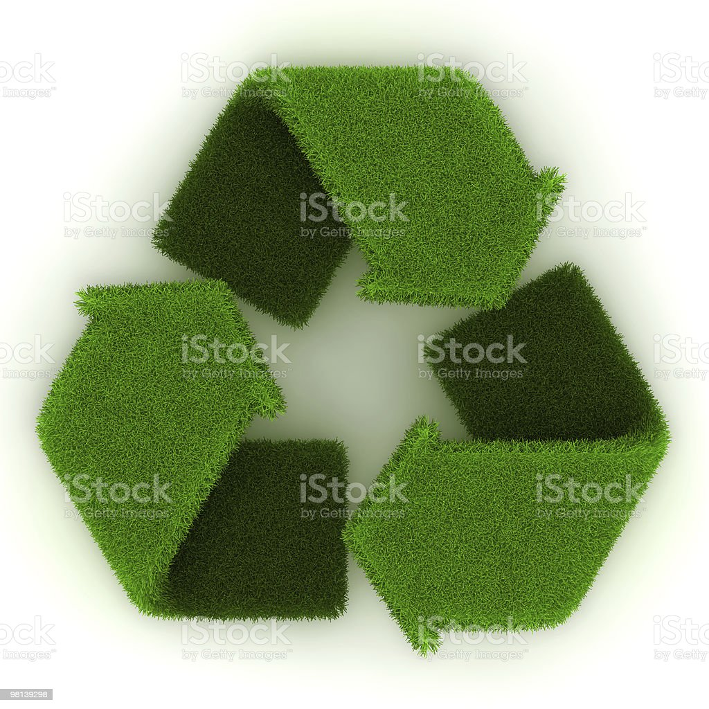 Recycling Symbol in Grass royalty-free stock photo