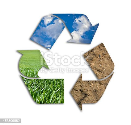 499093370 istock photo Recycling symbol made from mud, grass and air 467309982