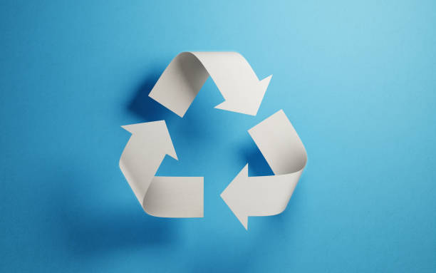 recycling symbol made of paper : sustainable energy concept - recycling symbol stock photos and pictures