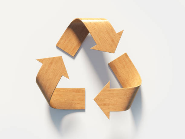 recycling symbol made of wood : sustainable energy concept - recycling symbol stock photos and pictures
