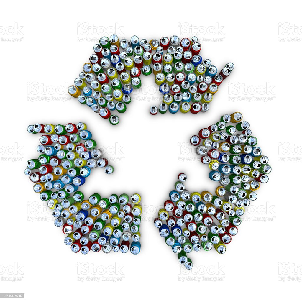 recycling symbol with coloured drink cans royalty-free stock photo