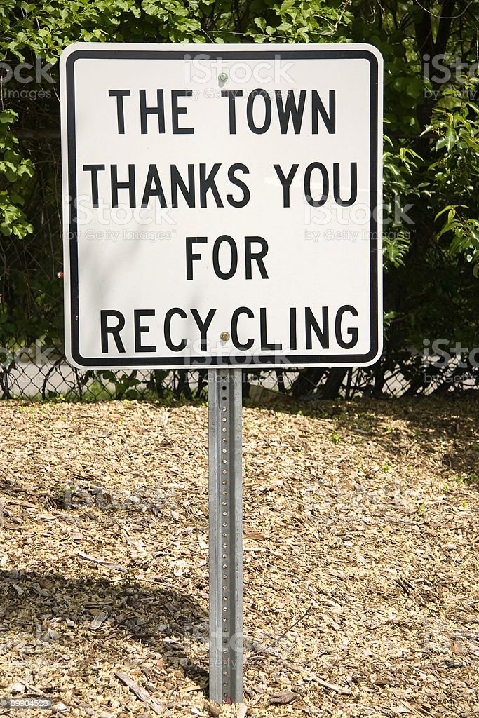 Recycling thank you sign stock photo