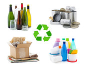 Waste management concept - waste sorting: glass, metal, paper and plastic with recycling symbol isolated on white