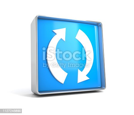 istock Recycling - web button isolated on white background 1127245890
