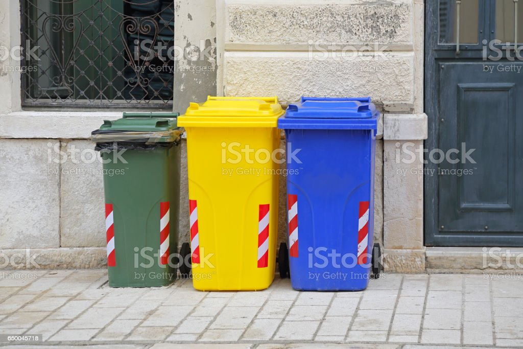 Recycling Wheelie Bins stock photo
