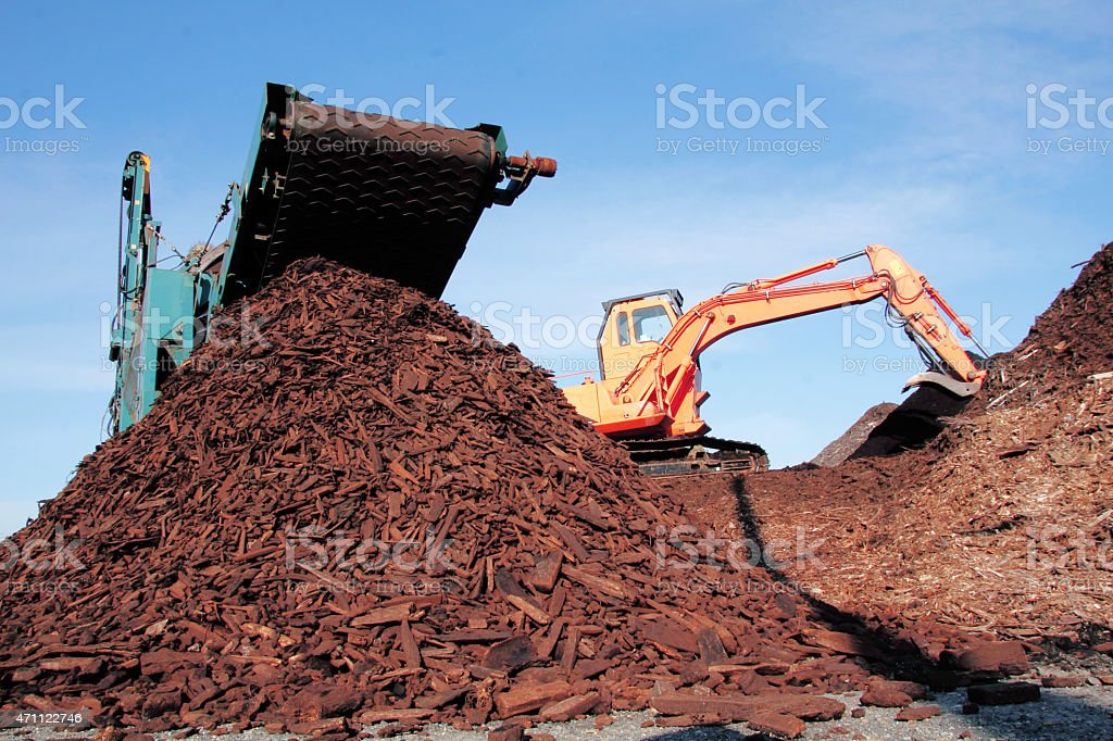 Recycling Wood Fiber stock photo