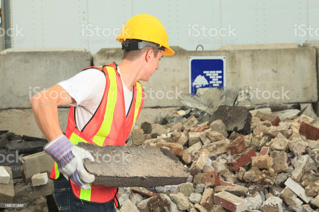 Recycling Worker - Brick stock photo