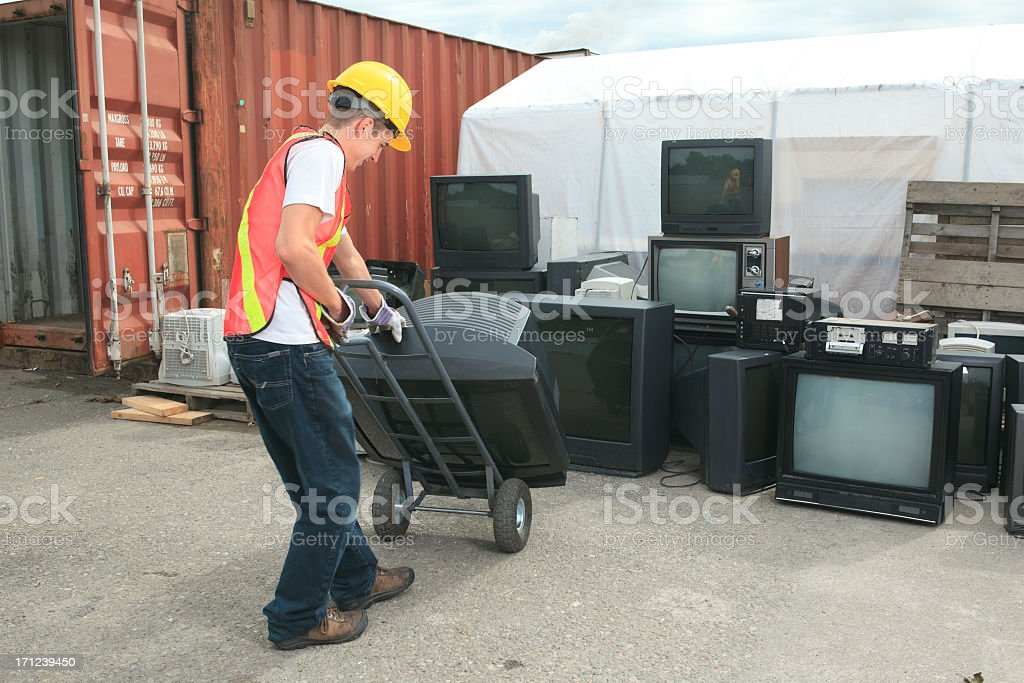 Recycling Worker - TV royalty-free stock photo