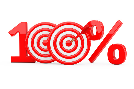 istock Red 100 %  Sign as Darts Target with Darts Arrow. 3d Rendering 912668852