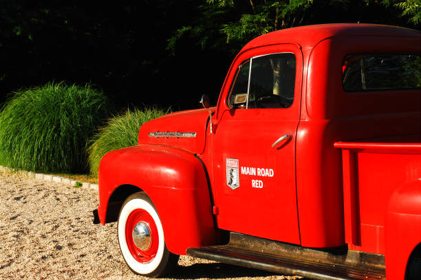 Red 1951 Ford pickup truck stock photo
