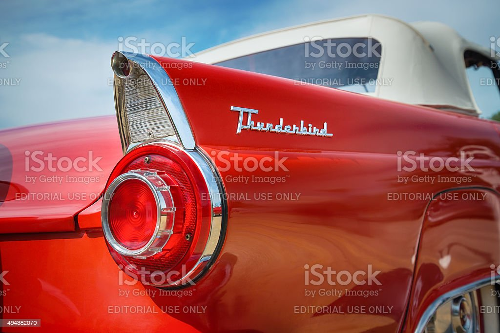 Red 1956 Ford Thunderbird Convertible Classic Car stock photo
