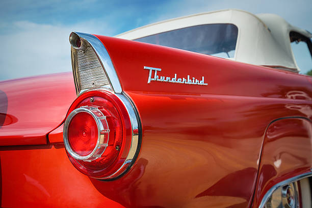 red 1956 ford thunderbird convertible classic car - 1950s style stock photos and pictures