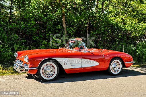 Duvall, Washington, June 4, 2011: A perfectly restored  bright red 1958 Chevrolet Corvette being displayed at the annual Big Rock Car Show in Duvall, Washington.