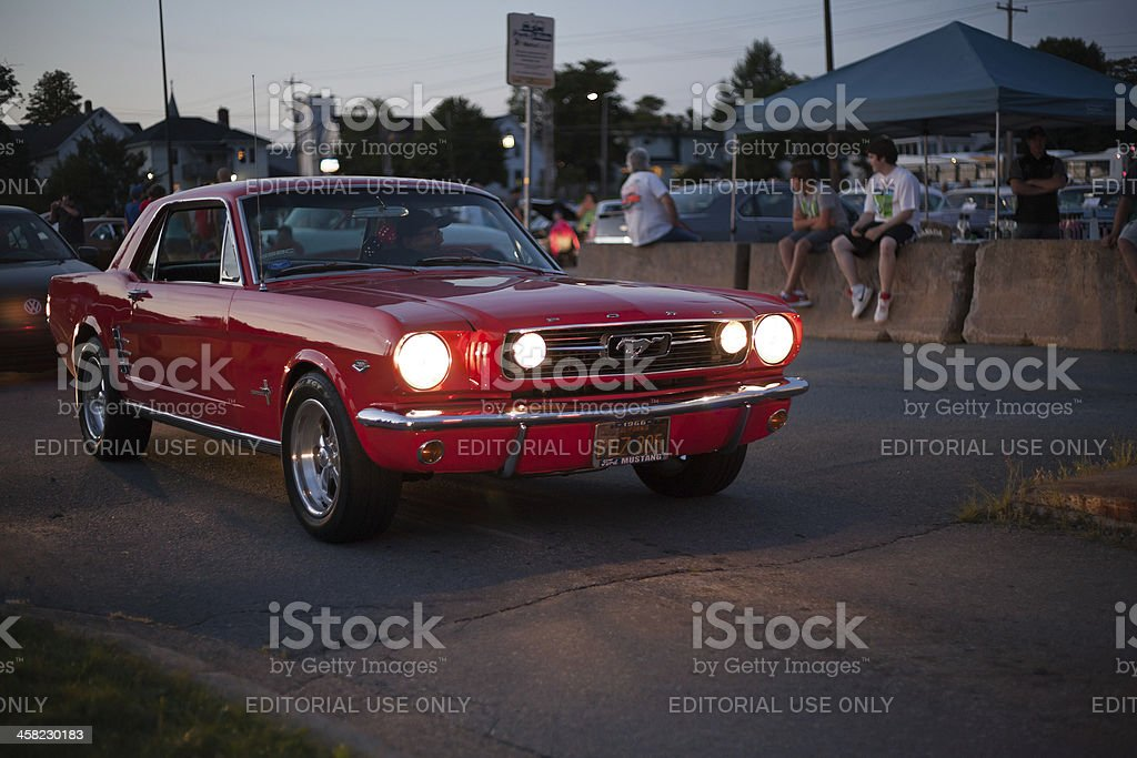 Red 1960s Ford Mustang royalty-free stock photo