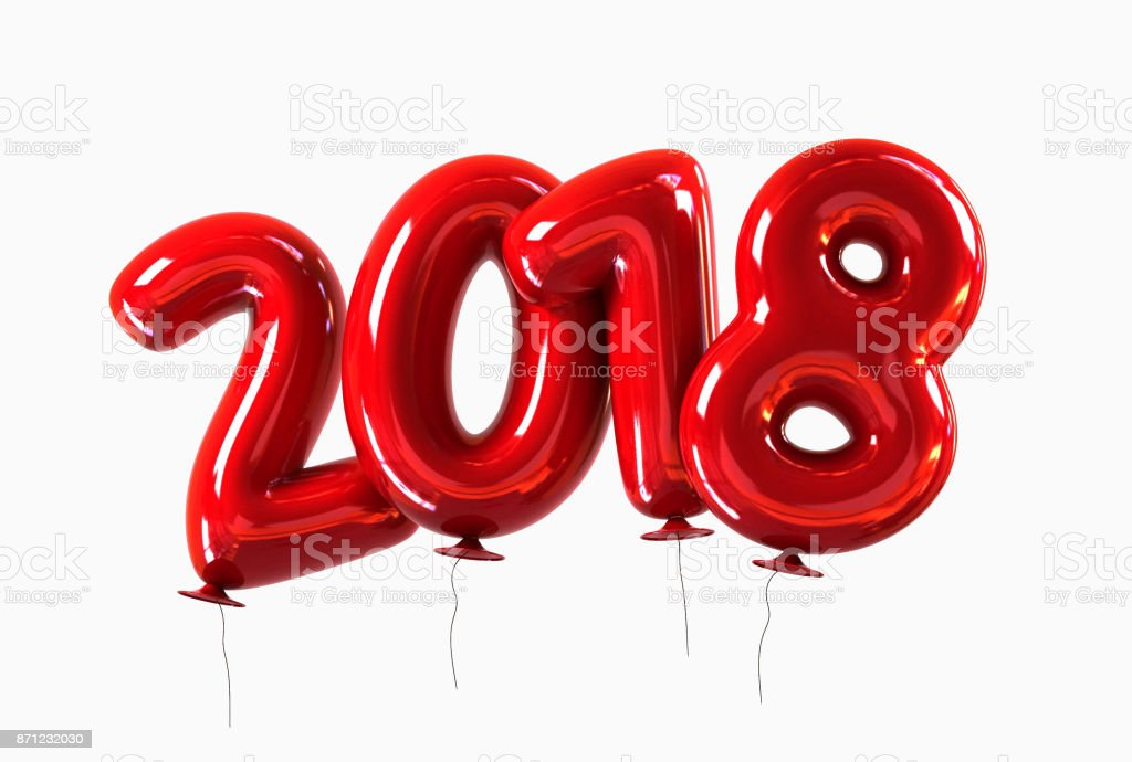 Red 2018 Balloons with glossy reflections. Happy New Year Concept. stock photo