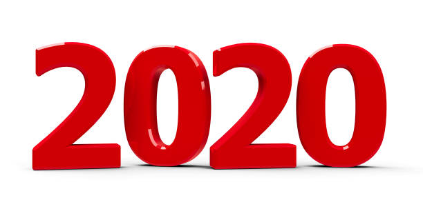 Red 2020 icon stock photo