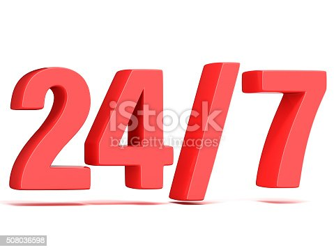 istock Red 24 hours 7 days a week sign. 3D 508036598