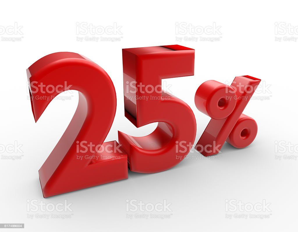 red 25 percent discount stock photo