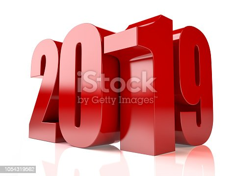 istock Red 3D 2019 Text on White Background 1054319562