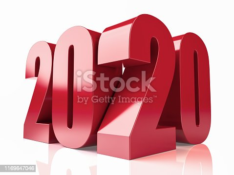 istock Red 3D 2020 Text on White Background 1169647046